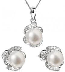 Evolution Group Luksuzen srebrni komplet s pravimi biseri Pavona 29017.1 (uhani, veriga, obesek) srebro 925/1000