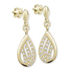 Brilio Třpytivé náušnice ze žlutého zlata s krystaly 239 001 00875 - 2,50 g zlato žluté 585/1000