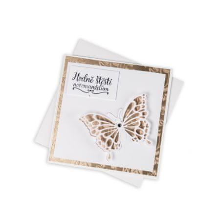 Giftisimo Svatební přání, krémové s motýlem a Swarovski krystalem