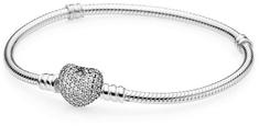 Pandora Strieborný náramok s trblietavým srdcom 590727CZ striebro 925/1000