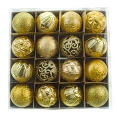 Seizis zestaw 16 bombek, złote mix, 6 cm