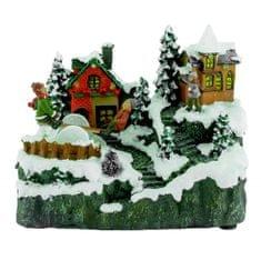 Seizis ozdoba świąteczna - wioska z huśtawką i światłami LED