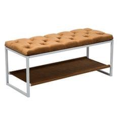 Dizajnová lavica, biely kov/béžová látka 6, VIKAR