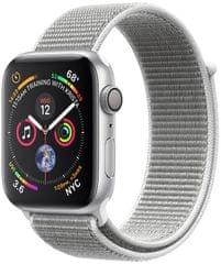 Apple Watch Series 4, 40mm, pouzdro ze stříbrného hliníku/bílý provlékací řemínek