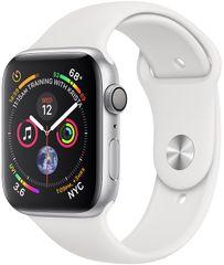 Apple Watch Series 4, 40mm, koperta w kolorze srebrnym/biały pasek