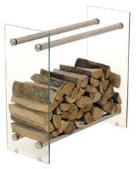 BHM Germany Stojan na dřevo Malin, 80x60 cm, čiré sklo