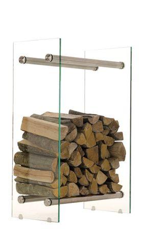 BHM Germany Stojan na drevo Malin, 60x60 cm, číre sklo