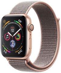 Apple Watch Series 4, 44mm, pouzdro ze zlatého hliníku/pískově růžový provlékací řemínek