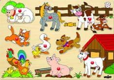 Woody Puzzle na doske - zvieratá na statku
