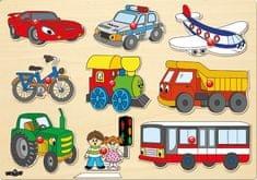 Woody Puzzle na desce - Dopravní prostředky