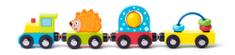 Woody vlak s ježom i igračkama