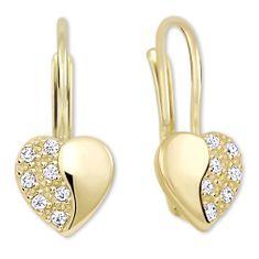 Brilio Zlaté srdíčkové náušnice s krystaly 239 001 00880 zlato žluté 585/1000
