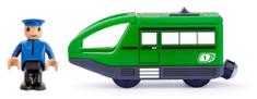 Woody moderno električno vozilo s vozačem, zeleno