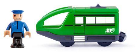 Woody sodobno električno vozilo z voznikom, zeleno