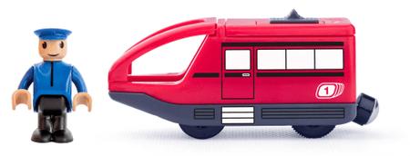 Woody nowoczesna elektryczna lokomotywa - czerwona