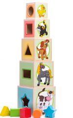 Woody Věž z 5-ti kostek Zvířátka