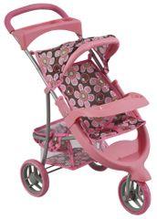 Bino wózek trójkołowy dla lalki, różowy