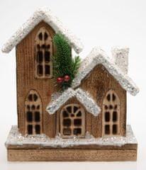 Seizis domek drewniany, brązowy, ze śniegiem i światłami LED, 25cm