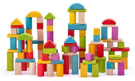 Woody Építőkocka - natúr és színes