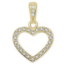 Brilio Srdiečkový prívesok zo žltého zlata s kryštálmi 249 001 00561 - 1,00 g žlté zlato 585/1000