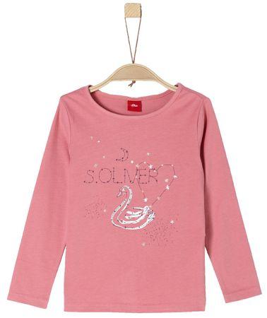 s.Oliver koszulka dziewczęca, łabędzie i gwiazdki 104/110 różowy