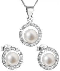 Evolution Group Luksuzen srebrni komplet s pravimi biseri Pavona 29023.1 (uhani, veriga, obesek) srebro 925/1000