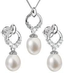 Evolution Group Luksuzni srebrni komplet s pravimi biseri Pavona 29015.1 (uhani, veriga, obesek) srebro 925/1000