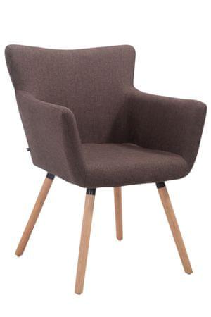 BHM Germany Jedálenská stolička s podrúčkami Indian textil, prírodné nohy, hnedá