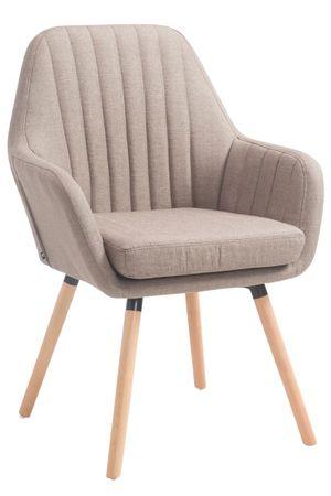 BHM Germany Jedálenská stolička s podrúčkami Fiona textil, prírodné nohy, taupe
