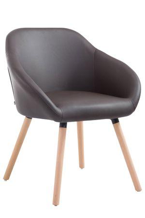 BHM Germany Jídelní židle Harry kůže, přírodní nohy, hnědá