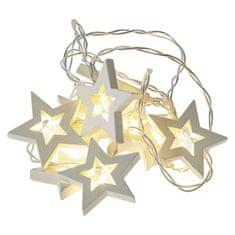 Emos LED venec - lesene zvezdice, 2xAA, topla bela, s časovnikom