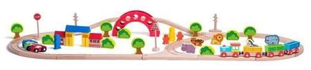 Woody željeznica s vlakom i životinjama