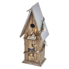 EMOS drewniany domek LED, 33cm, 2×AA, ciapła biel, timer