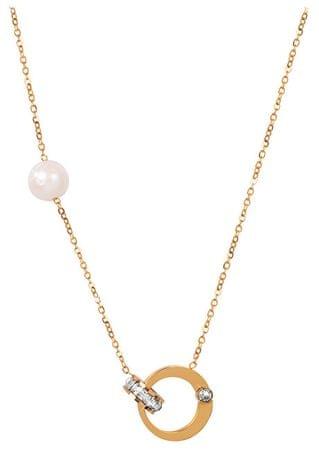 JwL Luxury Pearls Aranyozott nyaklánc gyöngyházzal és kristályokkal JL0422