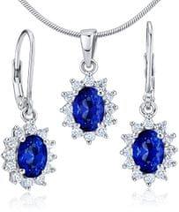 Silvego JJJE766SA Srebrny Sapphire Set ( Kolczyki, wisiorek ) srebro 925/1000