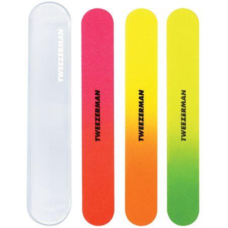 Tweezerman Pliki neon paznokci z przypadku (neon Nail Files) 3 szt