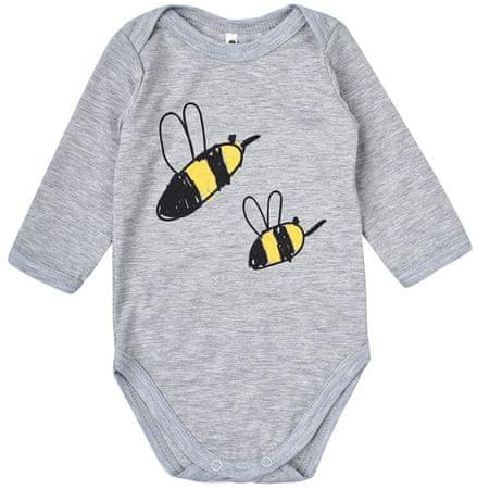 Garnamama dziecięce body z pszczółkami, 68, szare