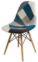 Mørtens Furniture Jedálenská stolička s drevenou podnožou Desire patchwork, modrá