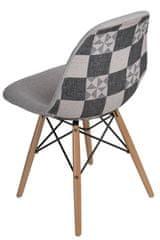 Mørtens Furniture Jedálenská stolička s drevenou podnožou Desire patchwork