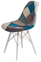 Mørtens Furniture Jedálenská stolička s bielou podnožou Desire patchwork, modrá