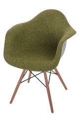 Mørtens Furniture Jídelní židle s dřevěnou podnoží Blom čalouněná, šedá/zelená