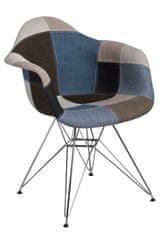 Mørtens Furniture Jedálenská stolička Blom čalúnená patchwork, modrá