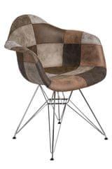 Mørtens Furniture Jedálenská stolička Blom čalúnená patchwork, béžová