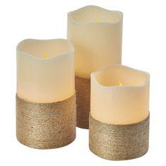 Emos LED dekorace – svíčka s provázkem, 9×AAA, ovl., čas.