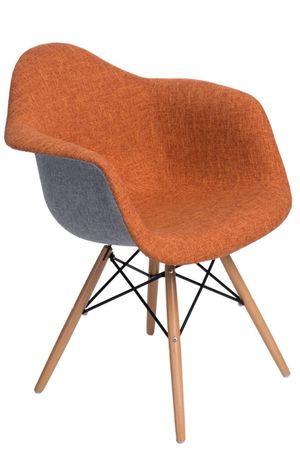 c9816cdef0c36 Jedálenská stolička s drevenou podnožou Blom čalúnená, sivá/oranžová ...