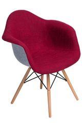 Mørtens Furniture Jedálenská stolička s drevenou podnožou Blom čalúnená, sivá/červená