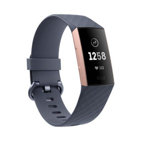 Fitbit aktivna zapestnica Charge 3, Rose Gold/Blue Grey