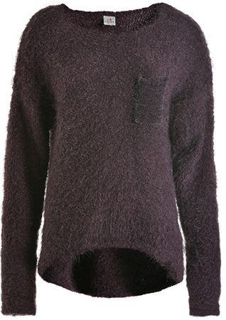 Deha Női pulóver Kerek nyak pulóver Fekete szilva B64160 (méret S)