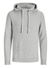 Jack&Jones Pánska mikina Jorduberry Knit Hood Light Grey Melange