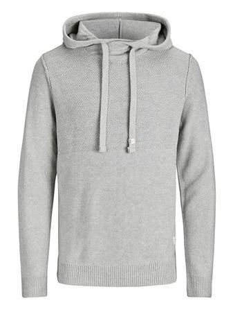 Jack&Jones Férfi kapucnis felsőJorduberry Knit Hood Light Grey Melange (méret XXL)